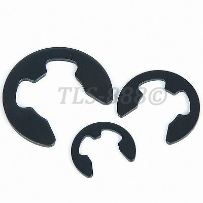 M1.5 to M17 E-Clips Snap Ring Circlips Retaining - Black Zinc Plated Steel