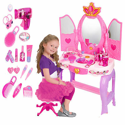 Luxury Glamour Mirror Dressing Vanity Table Beauty Girl Play Set Music & Light