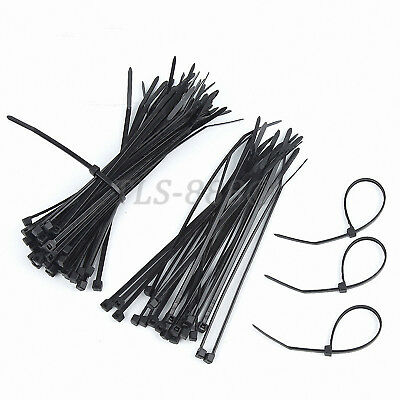Black Nylon Plastic Locking Cable Ties Zip Wraps - All Sizes 3*80mm to 9*1020mm
