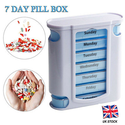 7 DAY WEEKLY Pill Organiser STACKING TOWER Large 4 Daily Compartments Tablet Box