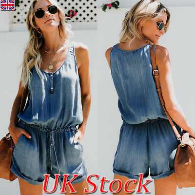 UK Womens Summer Sleeveless Denim Mini Jumpsuits Casual Jean Short Playsuit 6-18