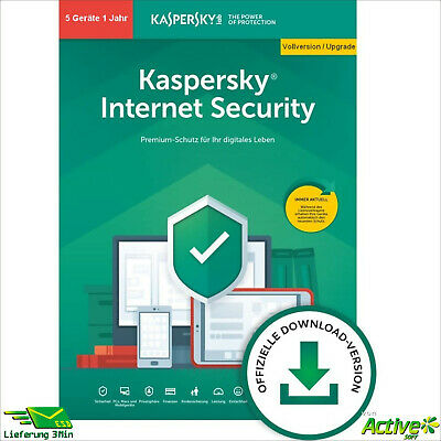 Kaspersky Internet Security 2019 5 PC 1Jahr VOLLVERSION / Upgrade 2020 DE-Lizenz