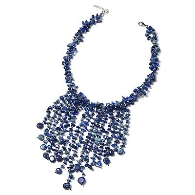 Lapis Lazuli Blue Glass Silvertone Fringe Bib Necklace Jewelry Gift 18""