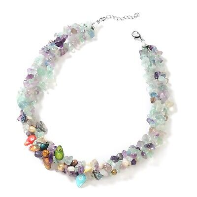"""Multi Fluorite Fresh Water Pearl Bead Layered Necklace Gift for Women 18"""" Ct 390"""