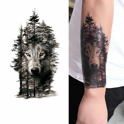 Tribal Wolf Forest Trees Black Ink Temporary Tattoo Large Arm Body Art Tattoos