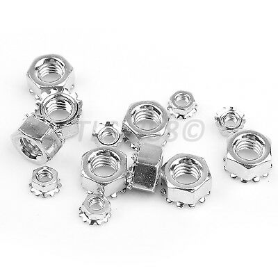 6#-32, 8#-32 Hex Nuts With Captive Toothed Lock Washers K-Lock Nuts -Zinc Plated