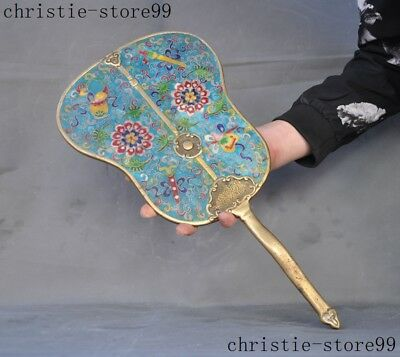 Chinese Dynasty noble bronze Cloisonne eight treasures fan Staute