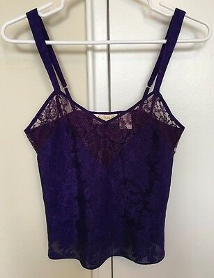 Victoria's Secret Size P Purple Lace Vintage Gold Label Lingerie Tank Top