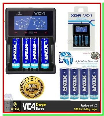 Caricabatterie XTAR VC4 LCD + 4 Batterie Ricaricabili Litio 18650 2600mAh Torce