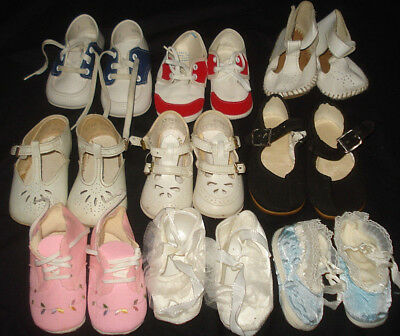 Lot 9 Pairs Vintage Baby Shoes - suitable for big dolls