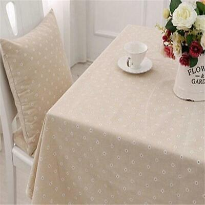 Fashion Vintage Square Linen Tablecloth With Crochet Lace Table Cover Q