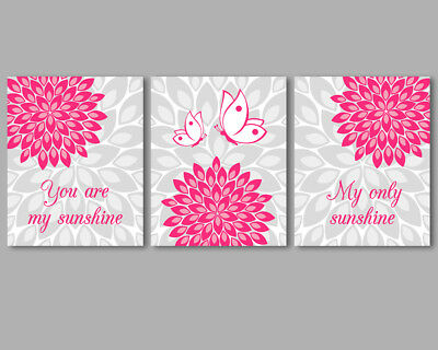 3 prints, baby girl nursery art, You are my sunshine quote, bright pink and grey