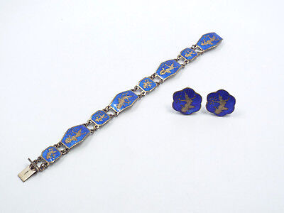 Vtg Siam Sterling Silver Blue Enamel Dancing Goddess Bracelet & Clip On Earrings