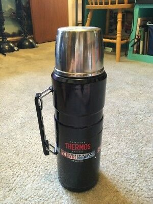 Thermos Stainless King 68oz / 2L Vacuum Insulated Beverage Bottle Black Mug NEW!