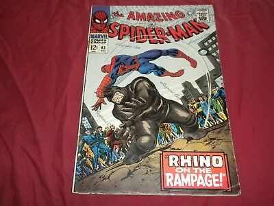 Amazing Spider-man #43 marvel 1966 silver age 4.0/vg comic! 2ND RHINO!!! WOW!!!!