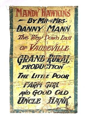 Antique Carnival Banner 1800s Vaudeville Circus Sideshow Burlesque Sign