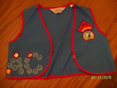 Vintage Blue with Red Official Awana Cubbies Vest with a few patches, Size M
