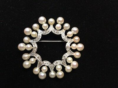 Vintage Pearl & Diamond Brooch - 14k