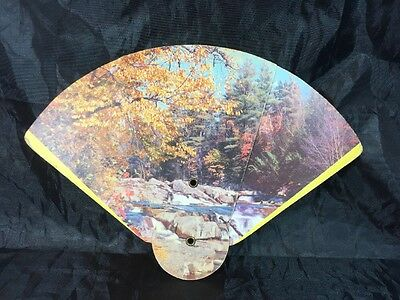 Vintage Tri Fold Advertising Fan Autumn Scene OH Book & Bible House Mt Vernon OH