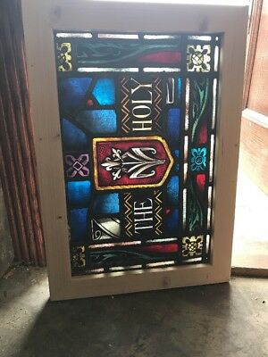 Sg 2442 Antique Painting In Fired Stain Glass Transom Window The Holy