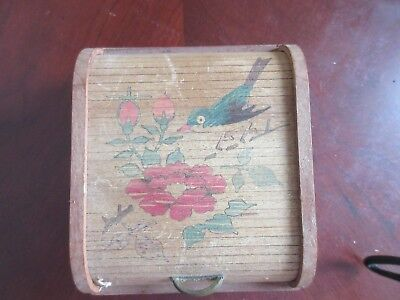 Occupied Japan Vintage Roll Top Wood Trinket Box Inlaid With Bird 4 by 3.5 by 2""