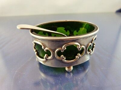 OPEN OVAL STERLING SALT CELLAR GREEN GLASS LINER BY H W Ld BIRMINGHAM 1910