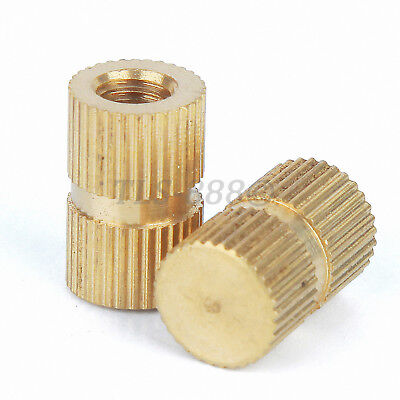 M3,4,5,6,8 Solid Brass Injection Molding Knurled Thread Inserts Nuts Blind Hole