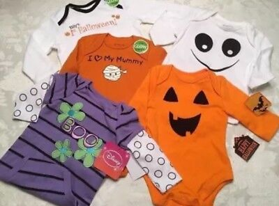 Lot Of 5 Baby Halloween Bodysuits NB Size 3-6-9 Months Romper Unisex Costume