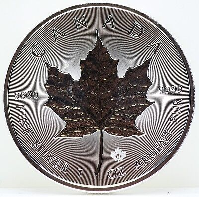 2018 Canada Silver Incuse Maple Leaf 1 Oz 9999 Fine Silver $5 Coin - JY901
