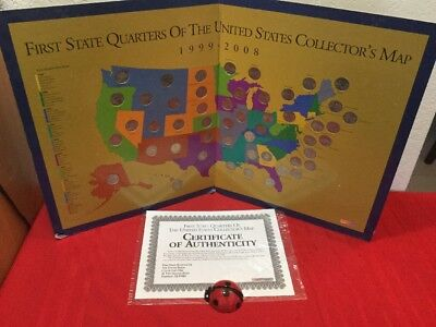 First State Quarters Of The U.s. Collector's Map 1999-2008 With Coins