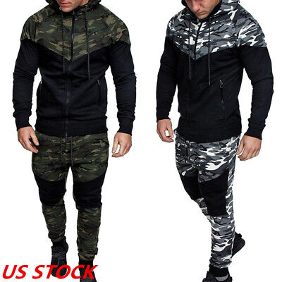 US Men's Camo Printed Full Tracksuit Tops+ ants Sets Casual Sportswear Suits DS