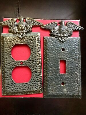 Lot Of 2 Eagle Patriotic Plates Outlet And Switch Brass Plated Hammered