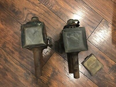 Pair Antique Coach Lamps Brass Copper Carriage Coach Lanterns Lights vtg