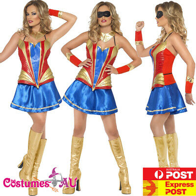 Ladies Wonder Woman Costume Super Hero Girl Teen Supergirl Girls Fancy Dress