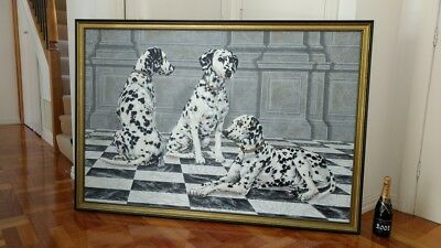 Giant 1.6m X1.1m Oil Painting On Canvas By Anderson Three Dalmatians Mixed Media