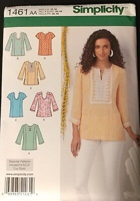 Simplicity 1461 Sewing Pattern Sizes 10 18 Tunic Tops Blouses New
