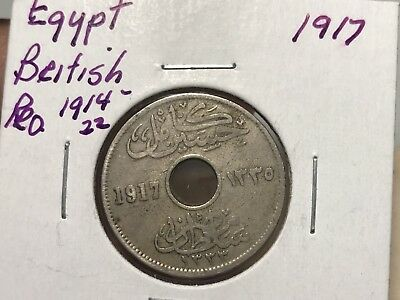 1917 Egypt 5 Milliemes world coin great condition