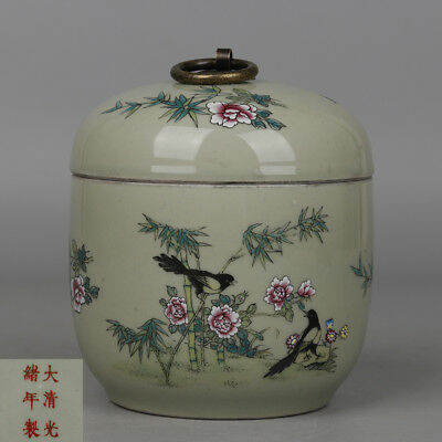 Chinese antique Porcelain Guangxu famille rose painting bamboo bird Tea canister