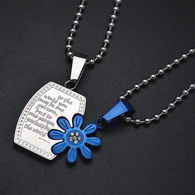 1Pair Stainless Steel Square Blue Flower Paired Lovers Pendant Necklace Jewelry