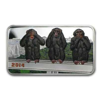 2014 1 oz Tanzania Three Wise Monkeys Silver Proof Colorized (In Capsule)