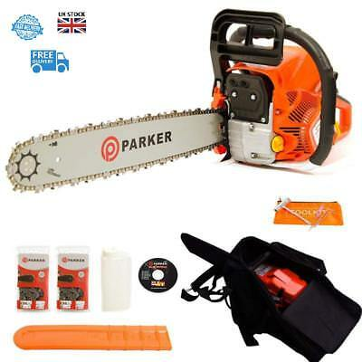 Premium 62Cc 20 Petrol Chainsaw 2 X Chains With Carry Bag Bar Cover Tool Kit