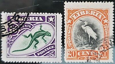 Liberia 1906 Sc # 105 to Sc # 106 Used Stamps Set Lot