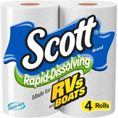 Scott Rapid dissolving toilet paper for RVs and BOATS 2-PACK OF 4 (8 ROLLS)