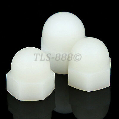 White Plastic Nylon Acorn Cap Nuts Dome Head Nut M3,4,5,6,8,10,12,14,16,18,20mm