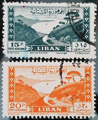 Lebanon 1949 Sc # C146 to Sc # 147 Airmail Used NH Stamps Set