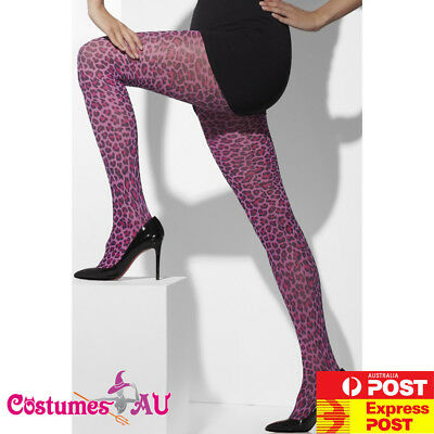 Ladies Purple  Leopard Print Tights Pantyhose Stockings Purple Panther Costume