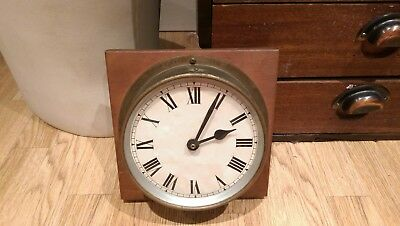 Vintage Antique Wood Mounted Brass Quartz Ships Mast Clock Superb Example