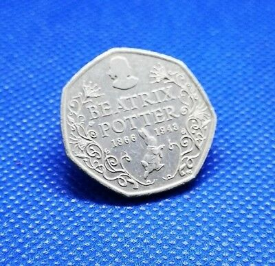 2016 BEATRIX POTTER 150th ANNIVERSARY 50p COIN - CIRCULATED - FIFTY PENCE