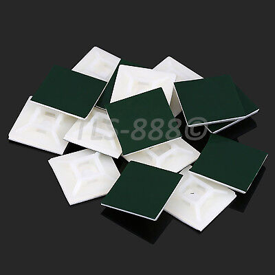 White Self Adhesive Cable Zip Tie Mount Fixing Bases Seat 3.2mm 4.7mm 5mm