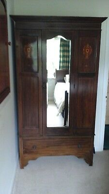 Antique mahogany Wardrobe inlaid draw and mirror